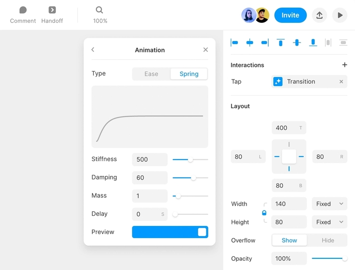 The animation editor within Framer