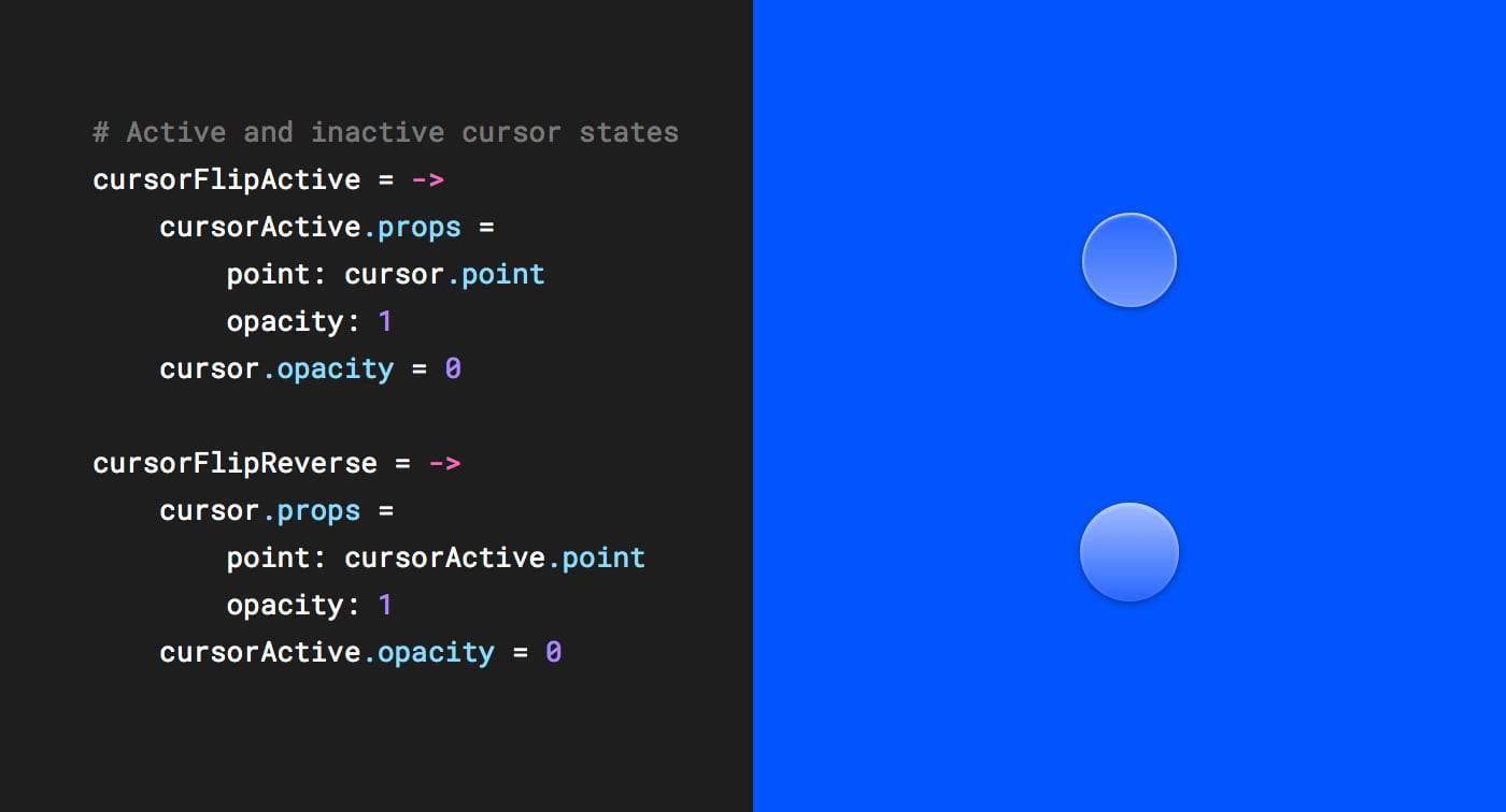 Active and inactive states for the touch cursor.