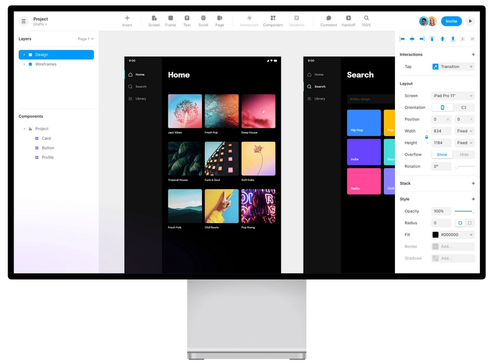 Canvas of UI UX tool