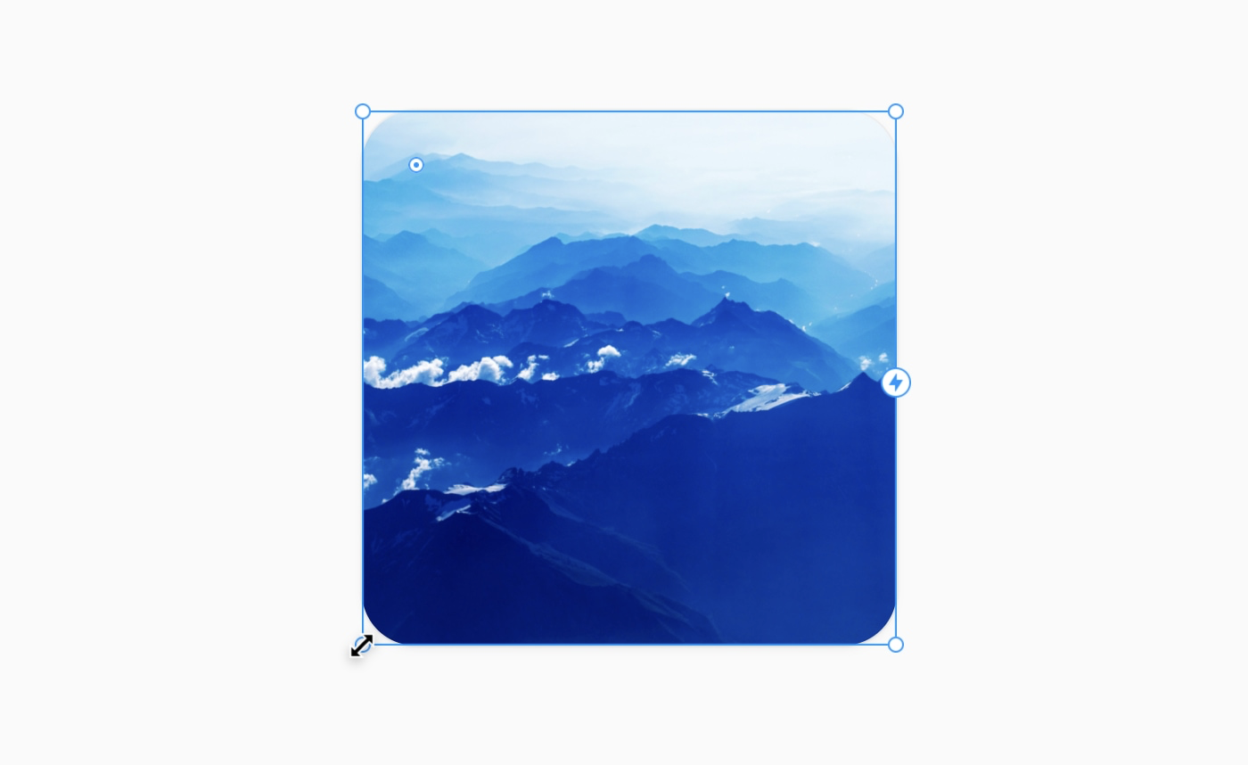An image showing how to drag the corners of a canvas element to resize