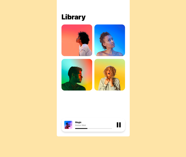 Template preview of Music Player