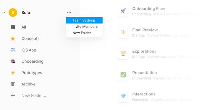 How to click on Team Settings in Framer Web dashboard