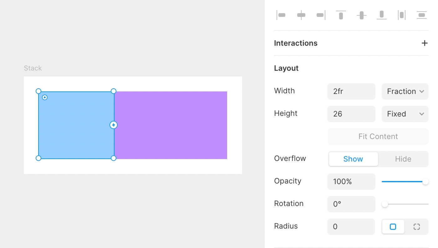 Stack's available fraction space