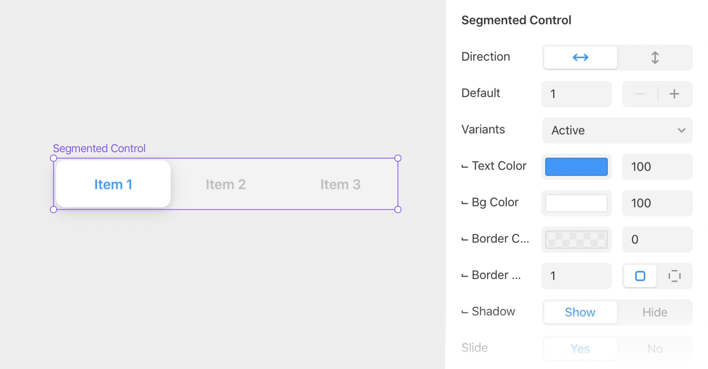 The segmented control component