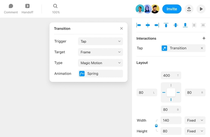 Setting an Interaction from within the Framer properties panel