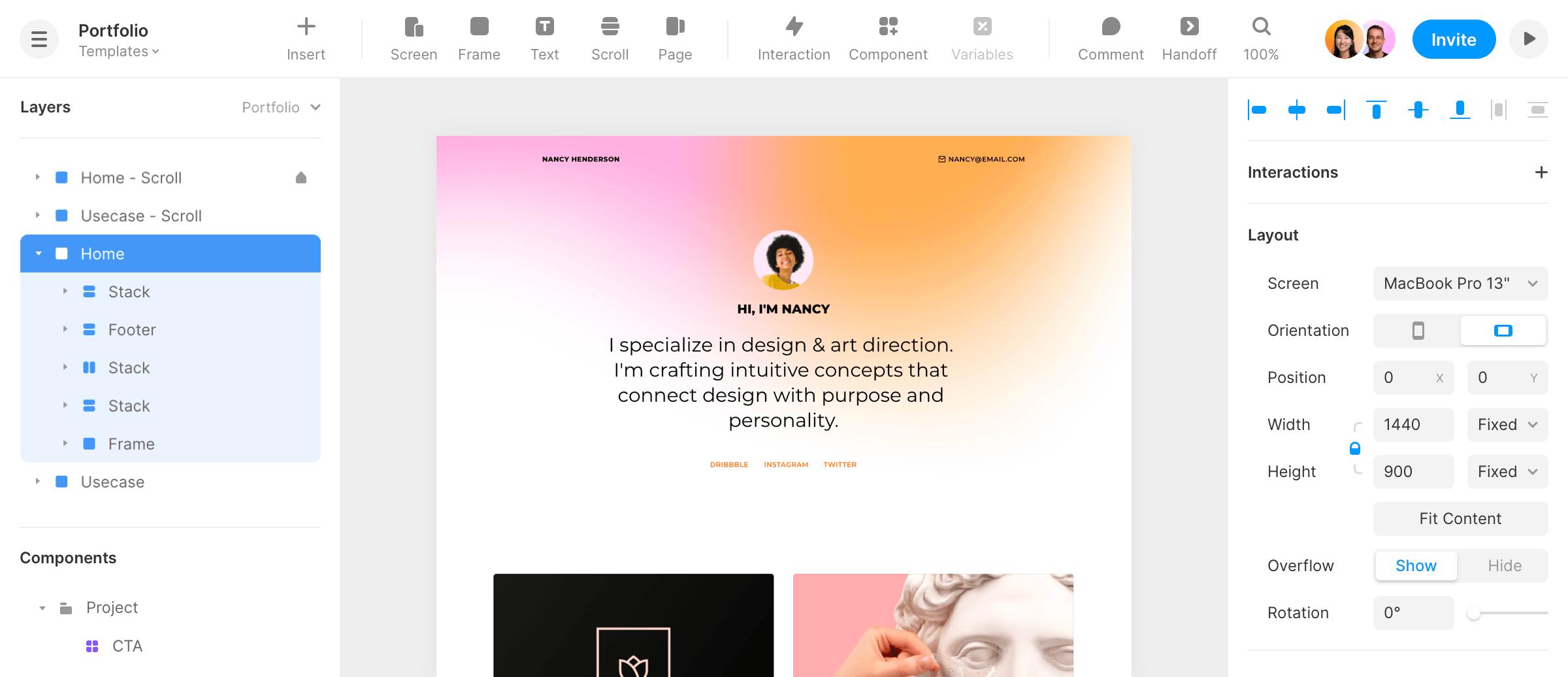 Portfolio template in Framer