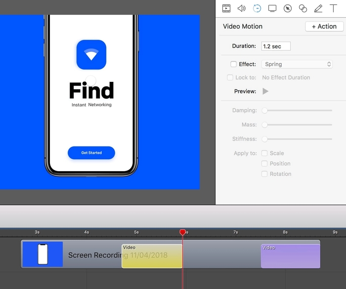 Define animations like zooming by adding video actions.
