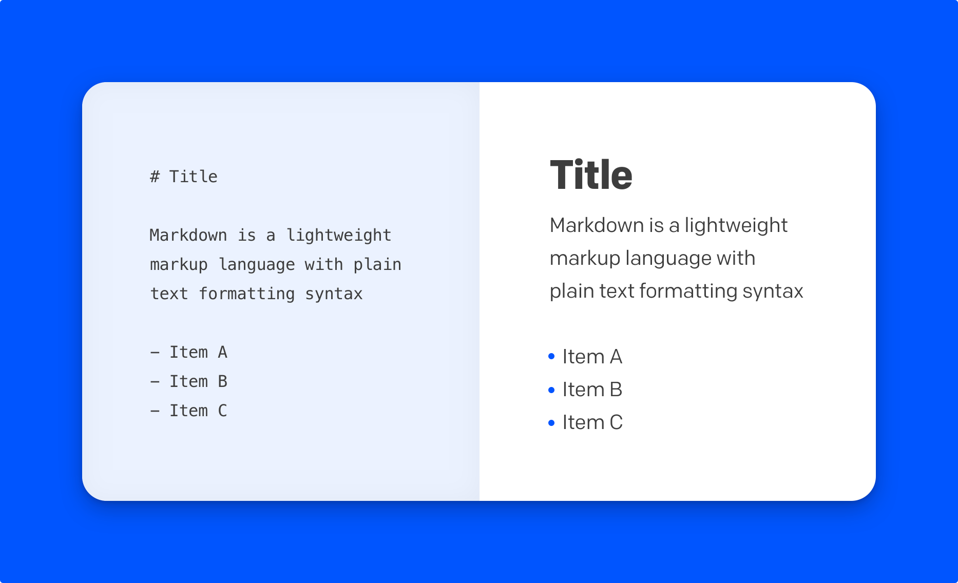 An example of how markdown is converted to html