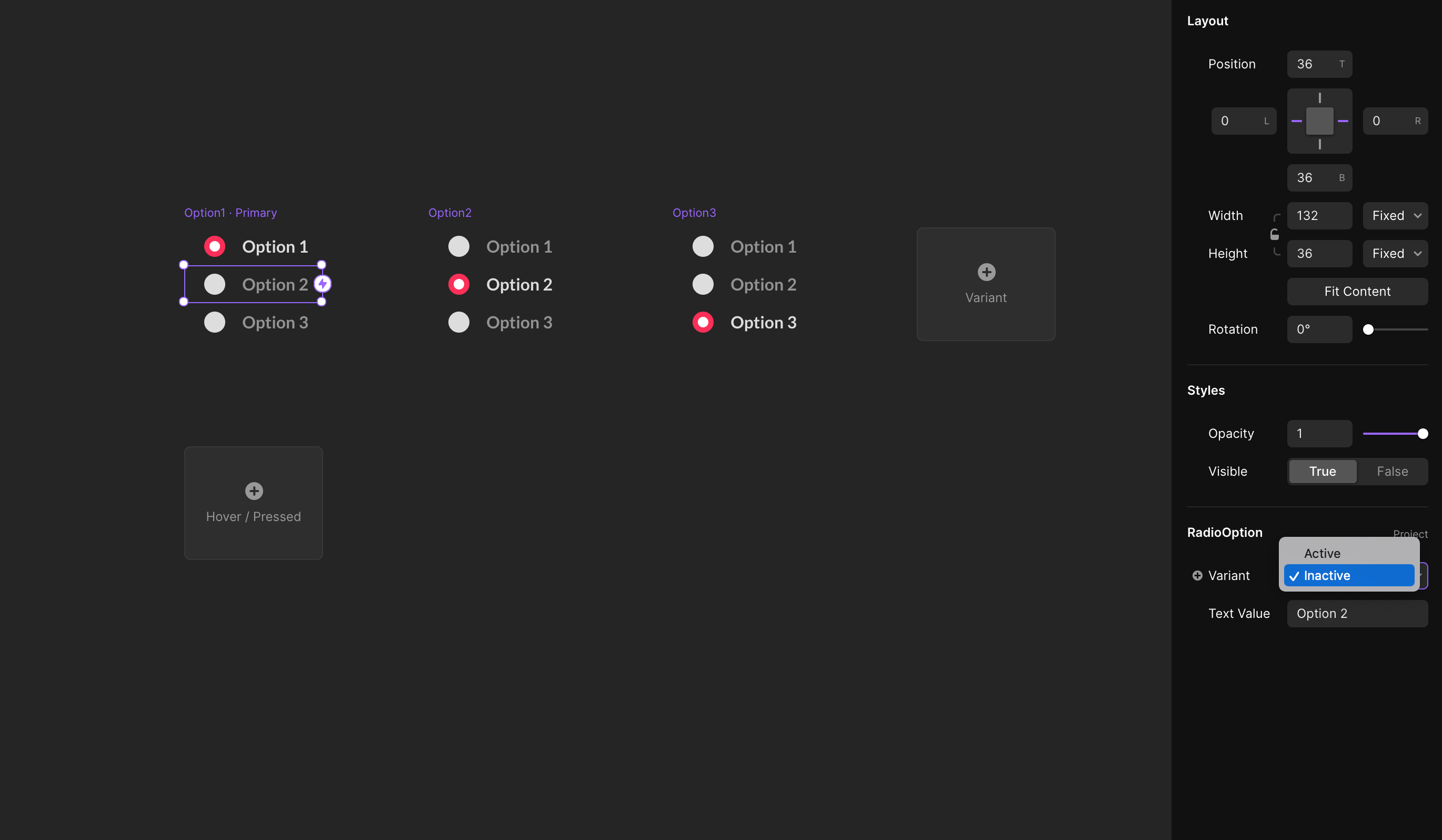 For each nested component, we choose the active or inactive variant from the properties panel.