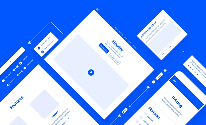 Framer's Wireframe Kit offers UI elements, content blocks and instructions to help you createwireframes.