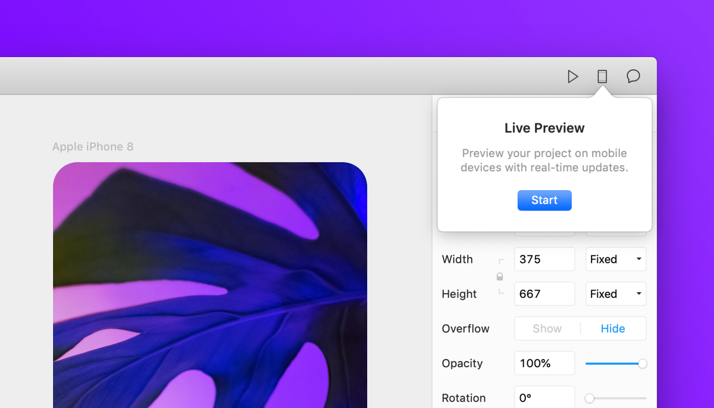 Live preview UI