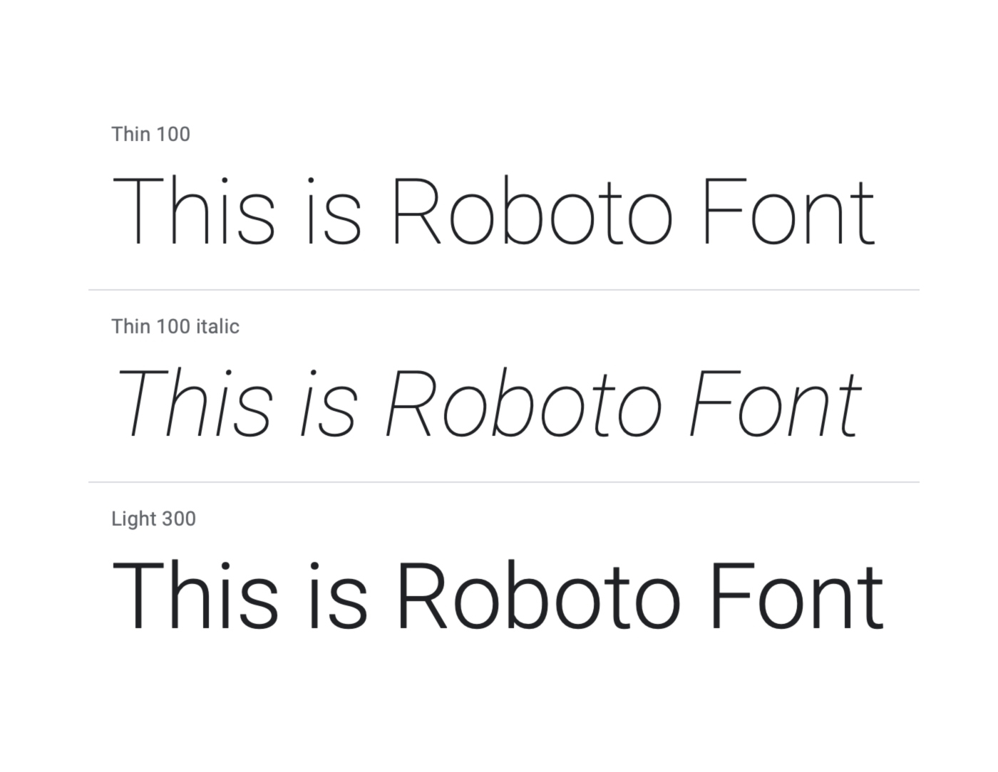 Roboto font family. Image by Material Design