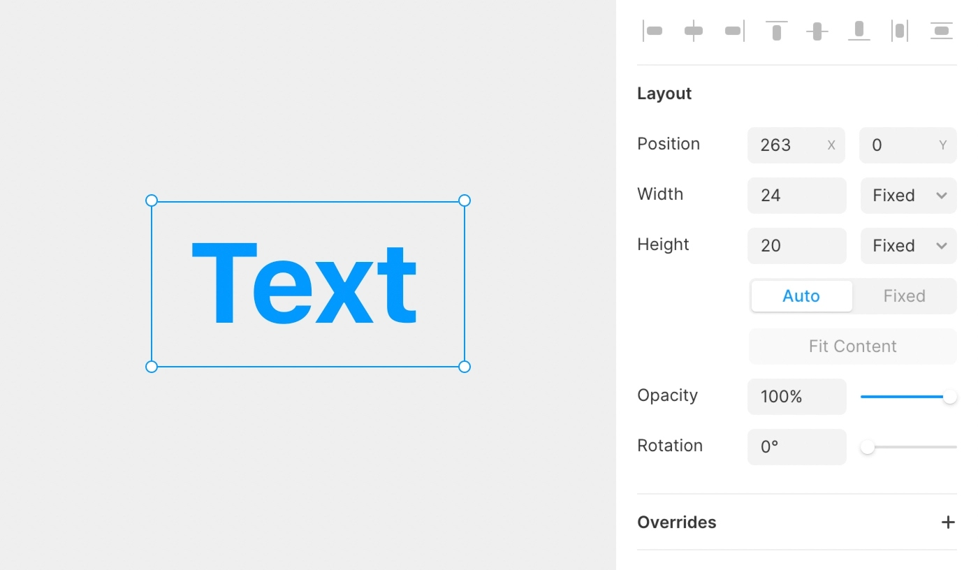 A Text layer with a fixed size can be resized