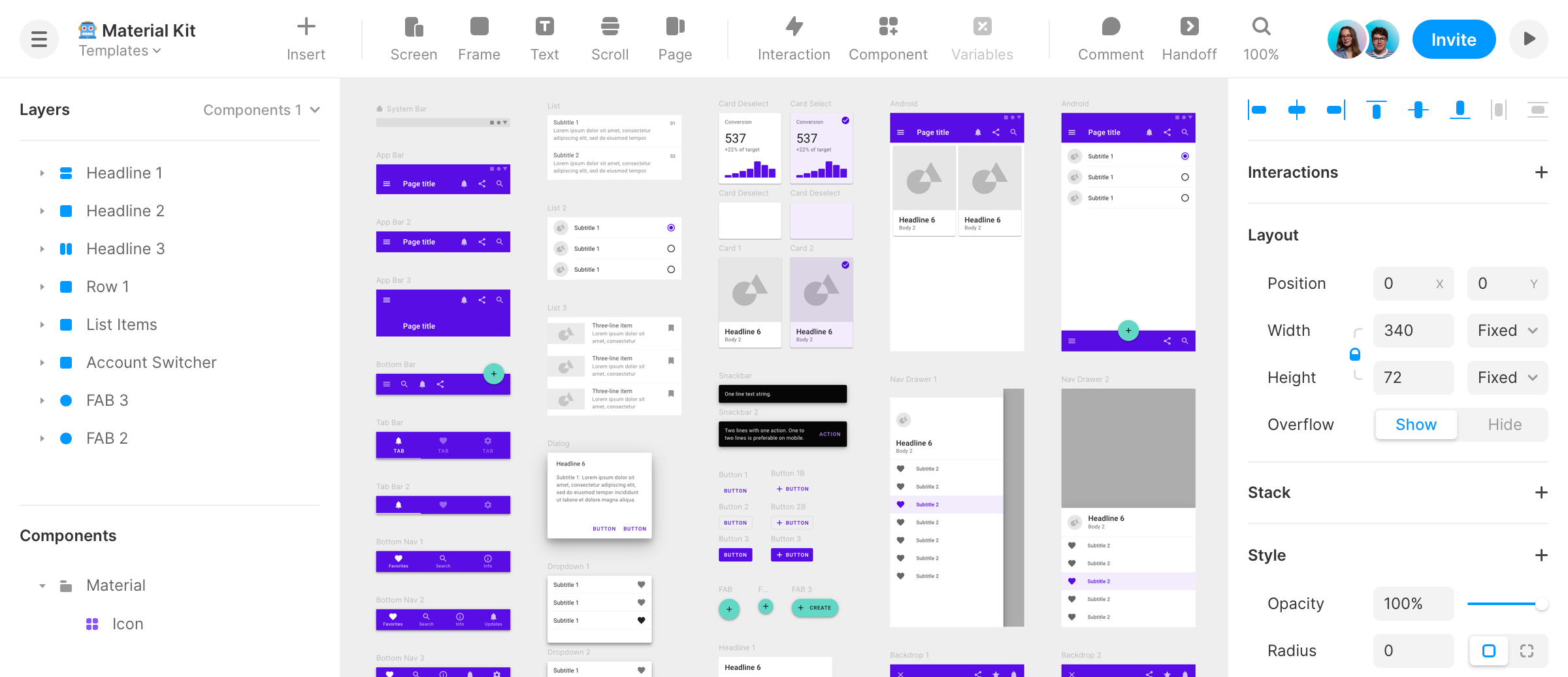 All the material UI kit components on the Framer canvas.