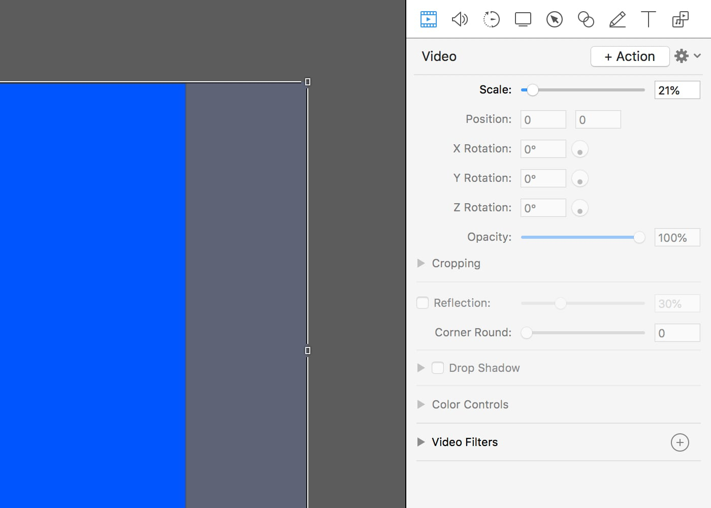Scale your clip to fit the document size using the scale slider.