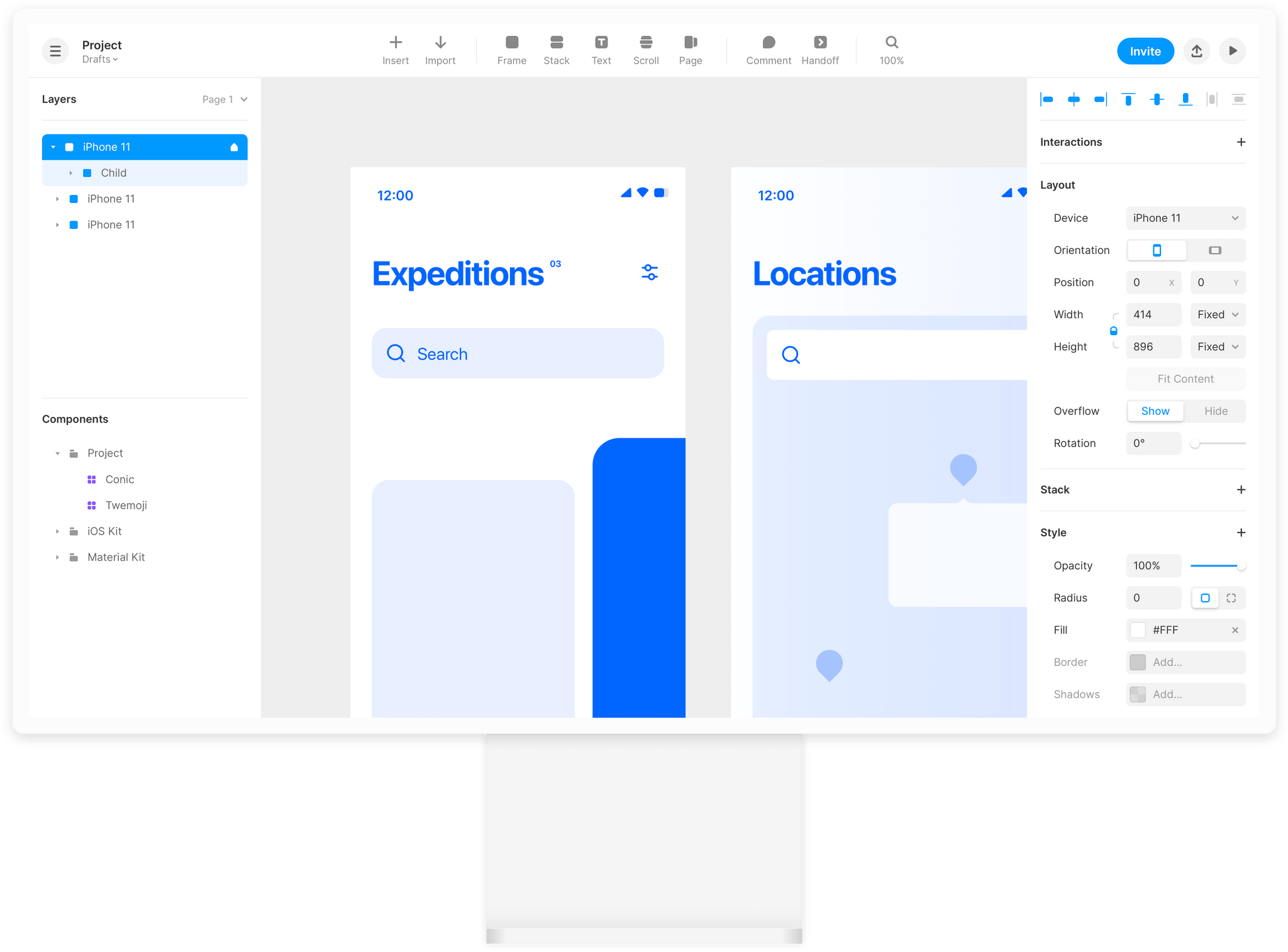 A free web-based wireframing tool for UX and UI design