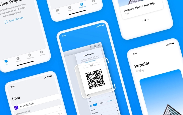 An overview of the Framer preview app for mobile