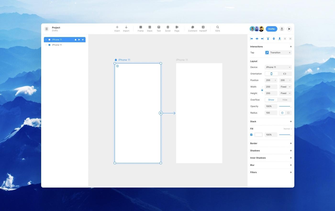 The Framer canvas on Framer Web