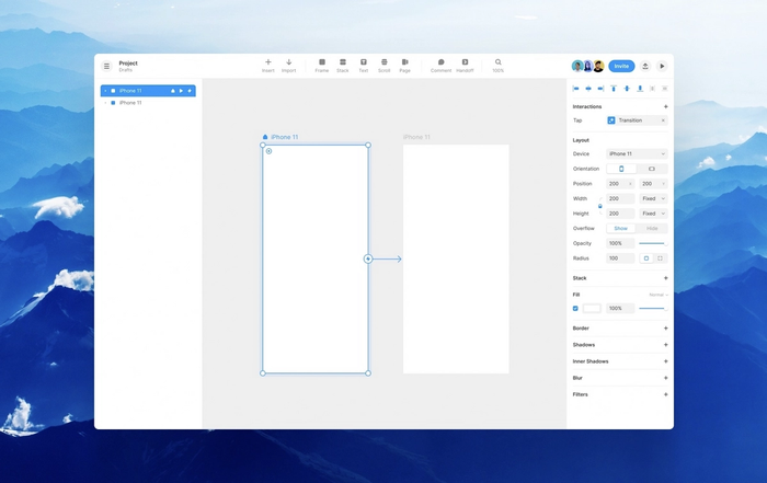 An overview of the Framer canvas