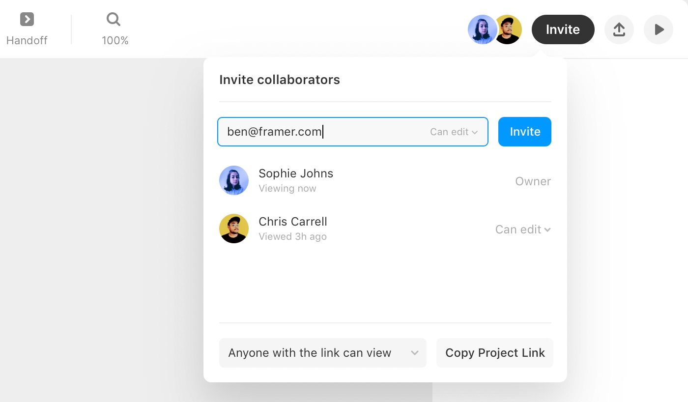 Invite model showing how to invite new team members