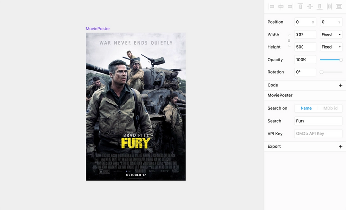 Framer canvas with a movie poster of Fury loaded with the package.