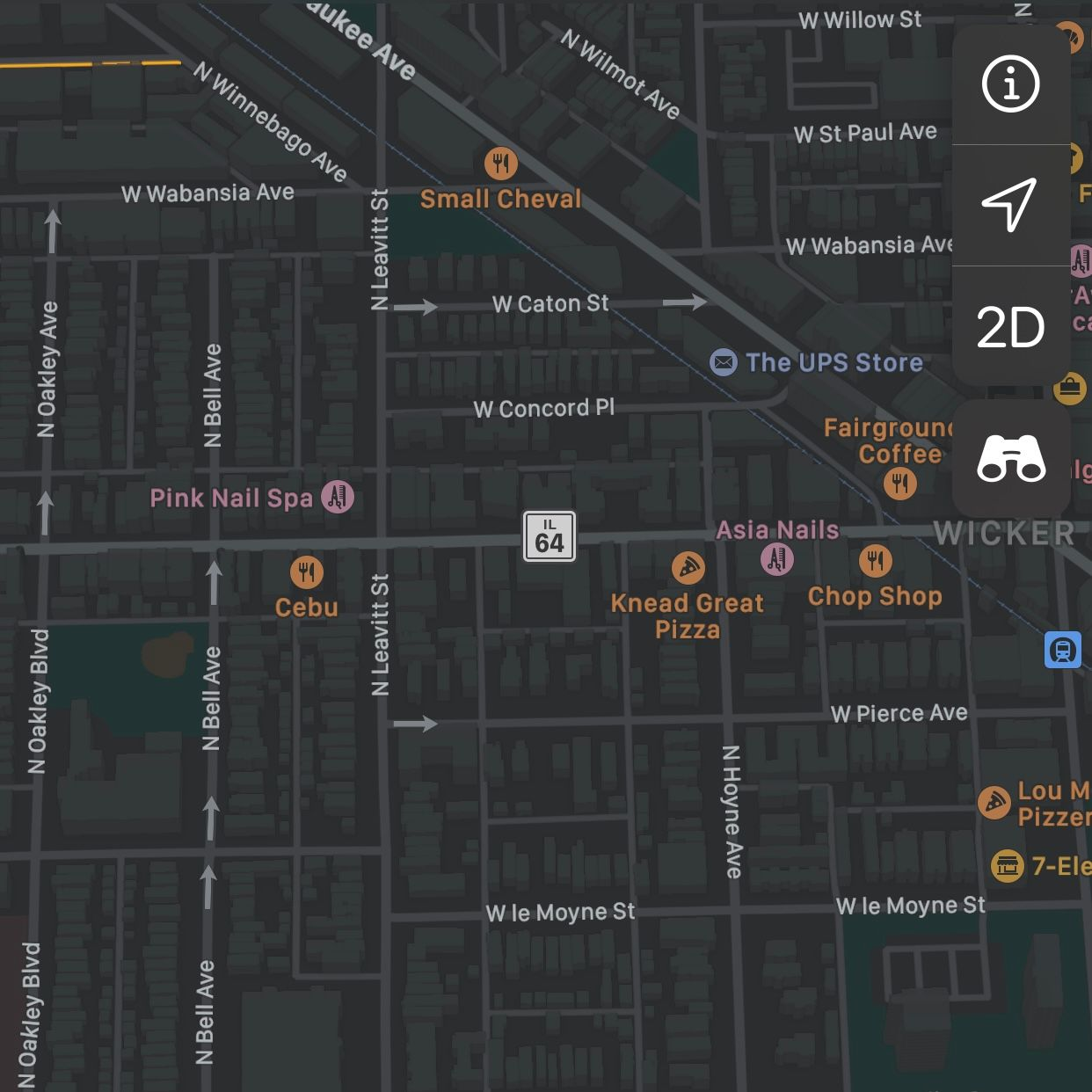 Apple Maps screenshot displaying North Avenue with IL-64 label.