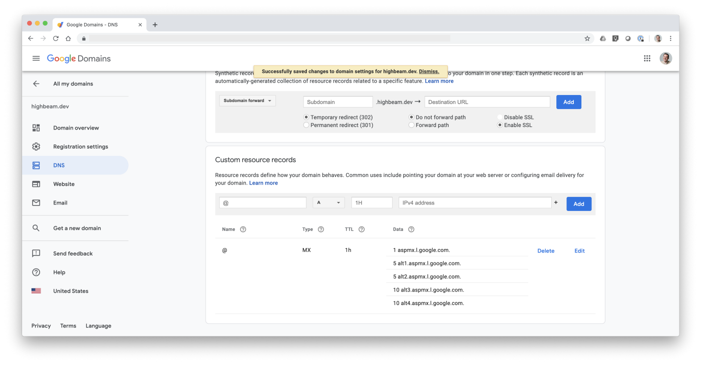 Screenshot of Google Domains console after successful MX record configuration