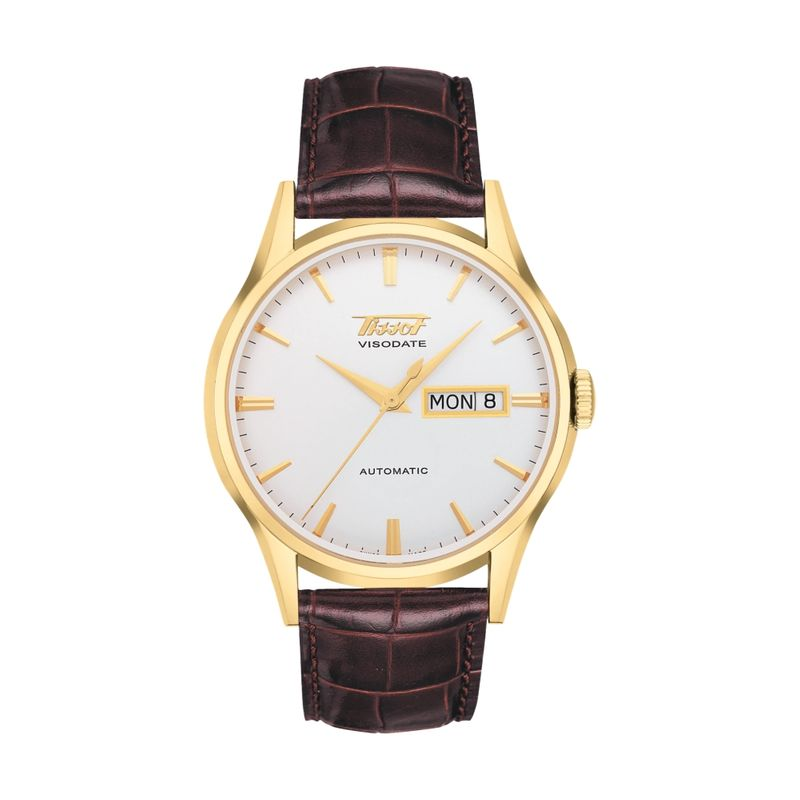 Heritage Visodate Automatic Silver Dial Brown Strap