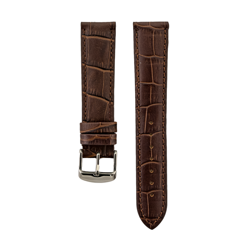 Brown Alligator Grain Genuine Leather Strap
