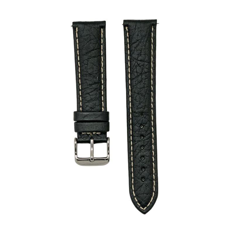 Black Shrunken Grain Genuine Italian Leather Stitched Strap