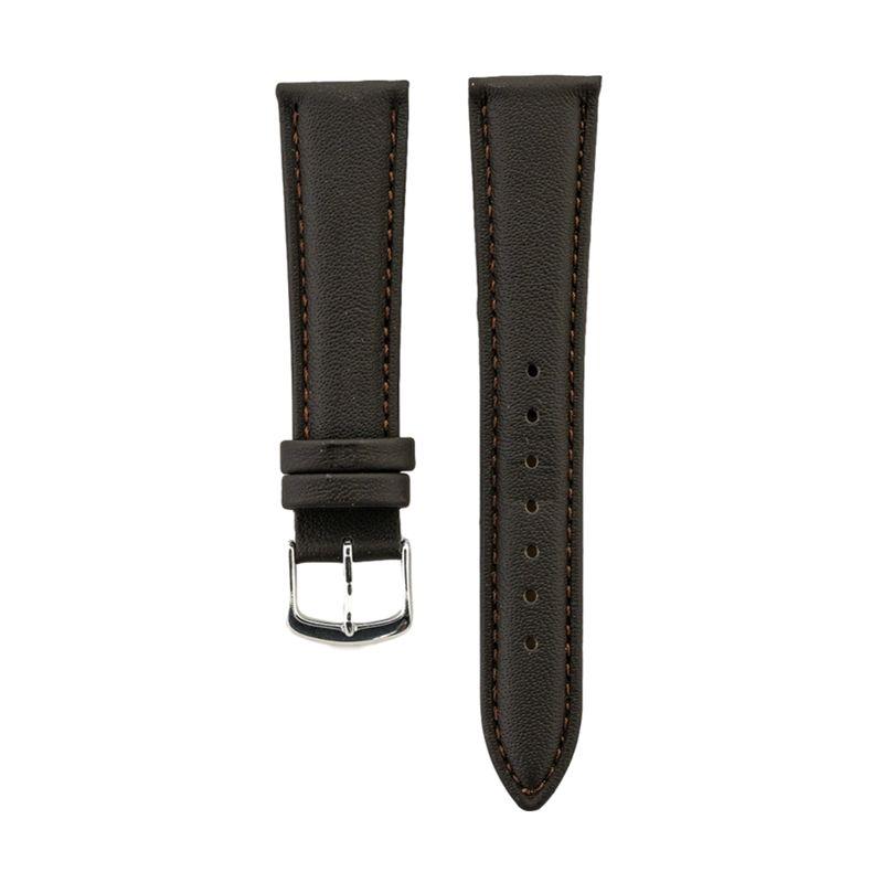 Brown Genuine Calfskin Leather Strap Stitched