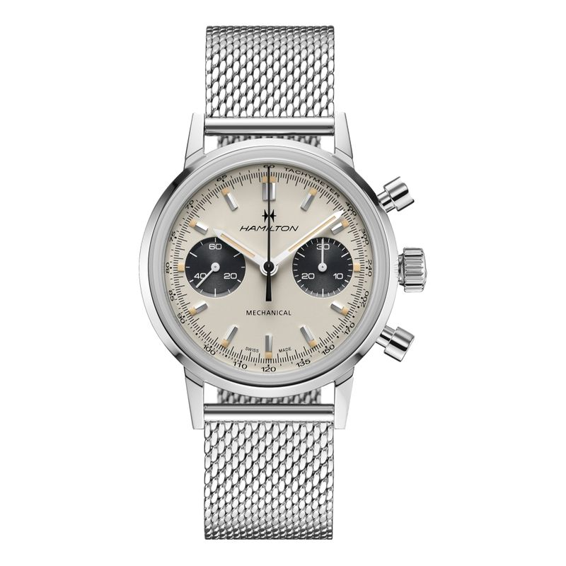 American Classic Intra-Matic Chronograph H White Dial Mesh Bracelet