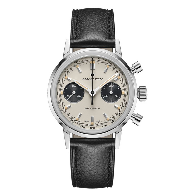 American Classic Intra-Matic Chronograph H White Dial Black Strap