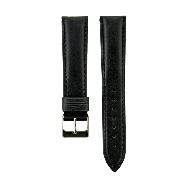 Black Genuine Leather Strap Stitched