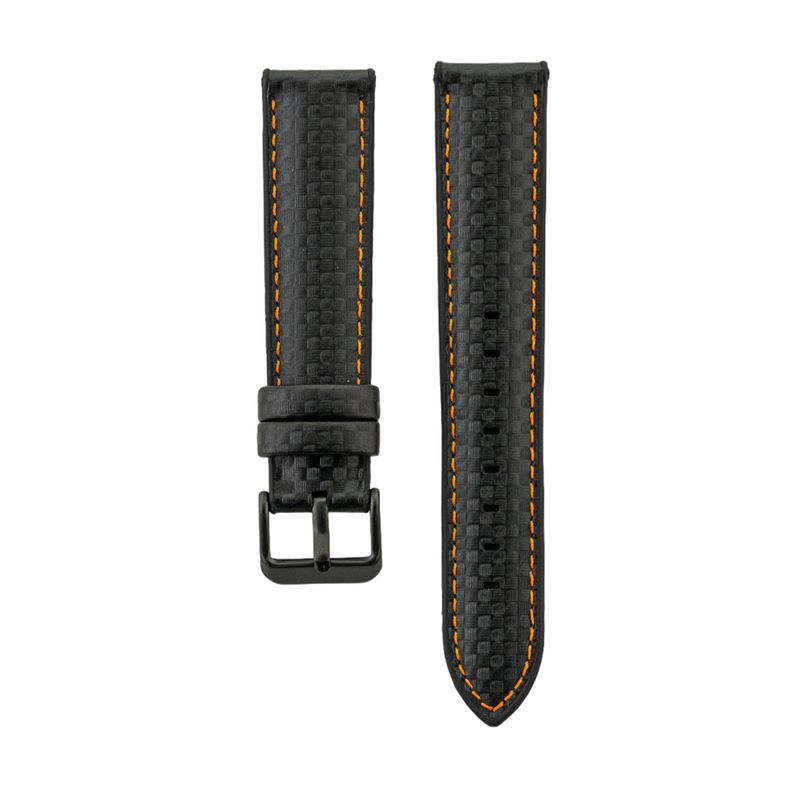 Hybrid Fit - Black/Orange Genuine Leather over Silicone Strap