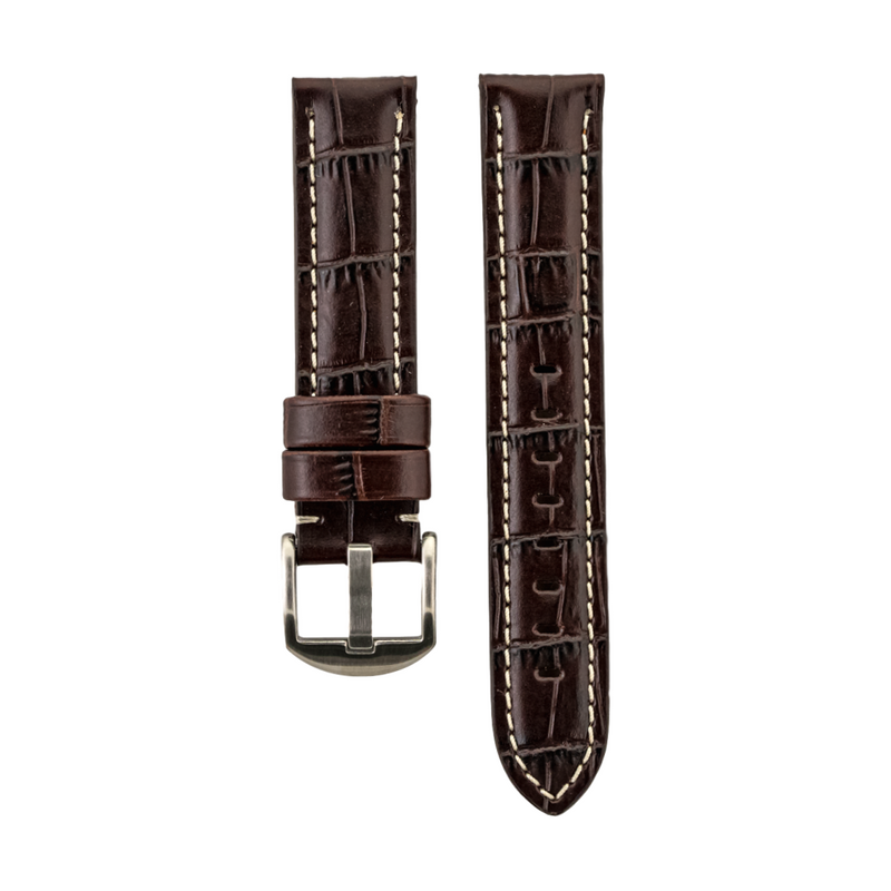 Brown Alligator Grain - Genuine Italian Calfskin Strap White Stitching