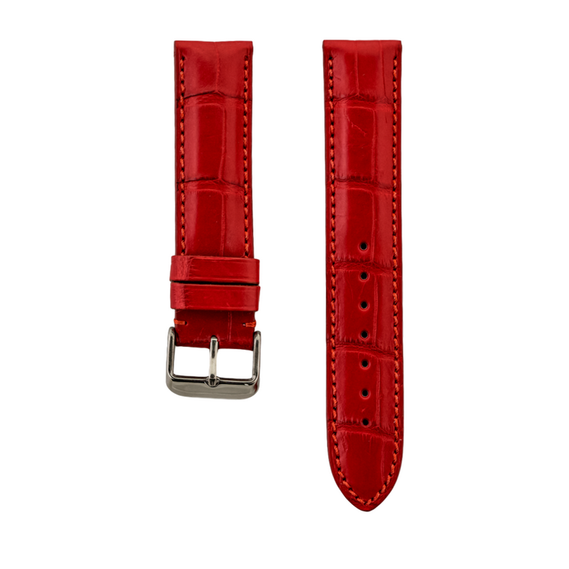 Red Genuine Matte Alligator Strap