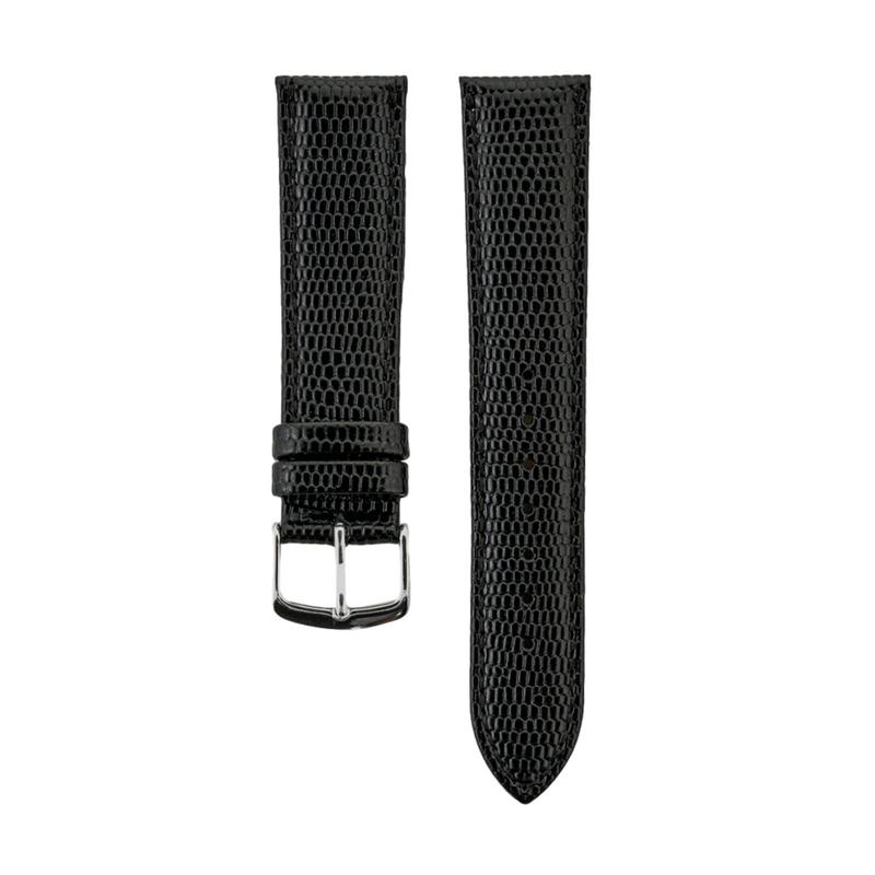 Black Java Lizard Grain - Genuine Italian Leather Strap