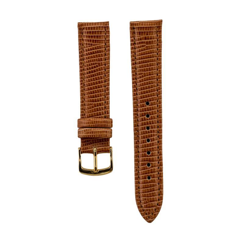 Brown Lizard Grain - Genuine Italian Leather Strap Gold Buckle