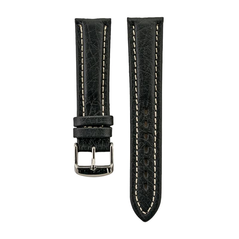 Black Stitched Genuine Leather Strap