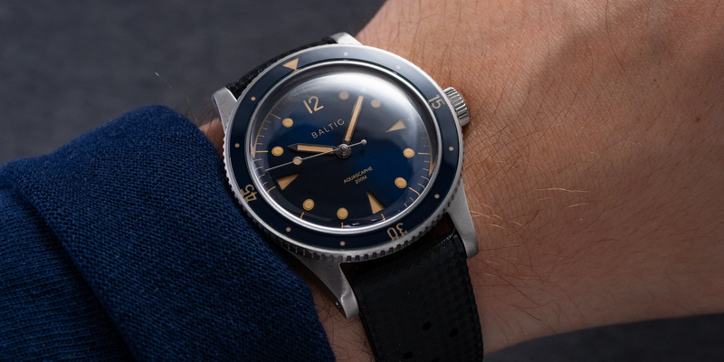 Baltic Aquascaphe Blue Dial on Rubber strap