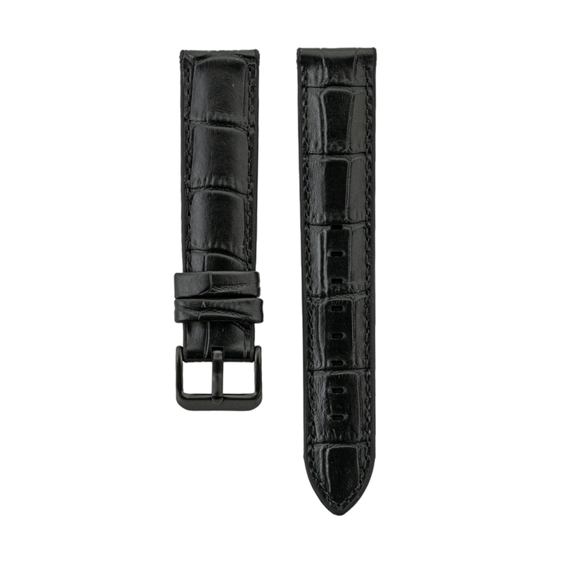 Hybrid Fit - Black Genuine Leather over Silicone Strap
