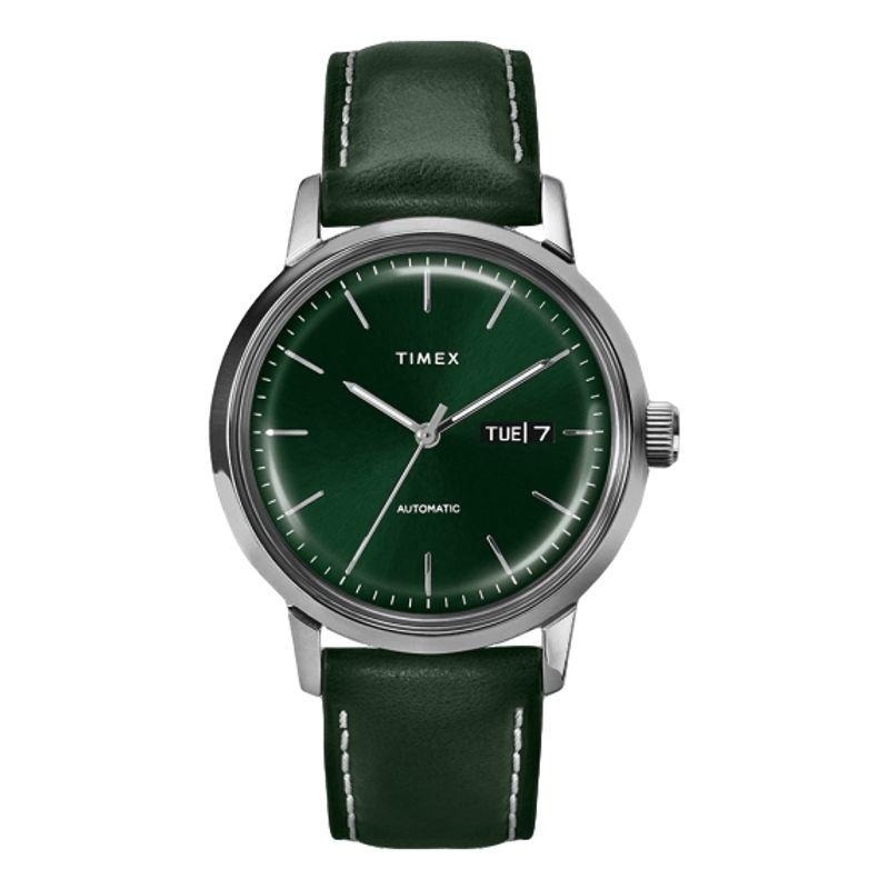 Marlin Automatic Day-Date 40mm Leather Strap Watch Green Dial