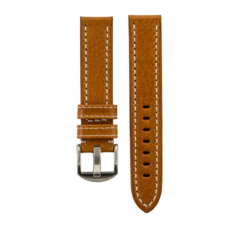 Tan Genuine Vegetable Tanned Leather Stitched Strap