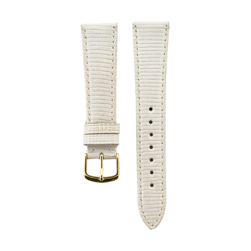 White Genuine Java Lizard Medium Padded Strap