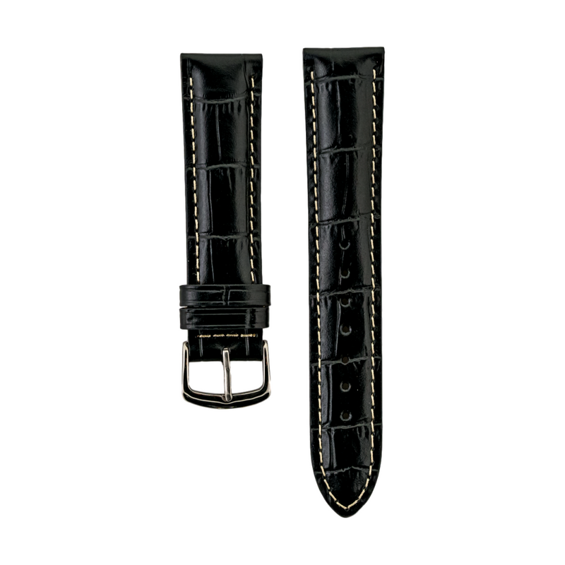 Black Alligator Grain - Genuine Italian Calfskin Stitched