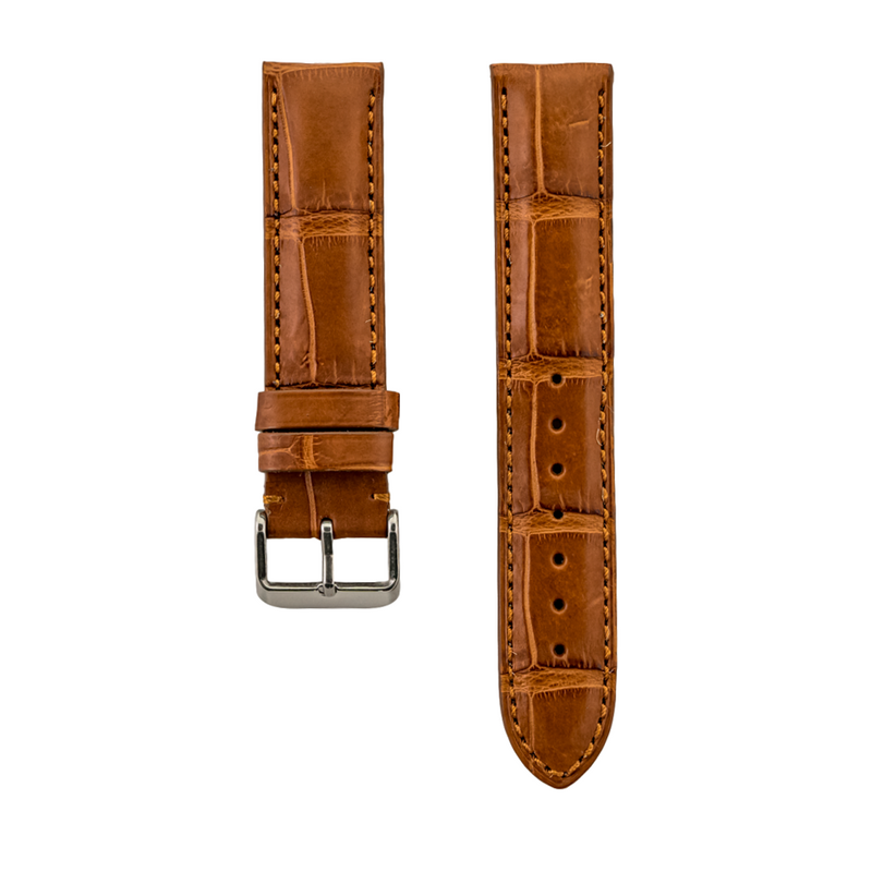 Chestnut Genuine Matte Alligator Heavy Padded Strap