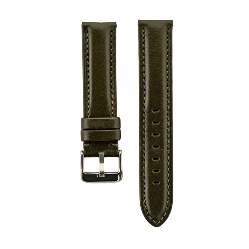 High Polished Olive Italian Leather Strap