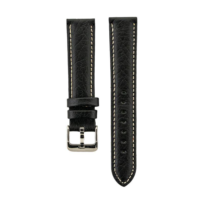 Black Shrunken Grain Genuine Italian Leather Heavy Padded Strap
