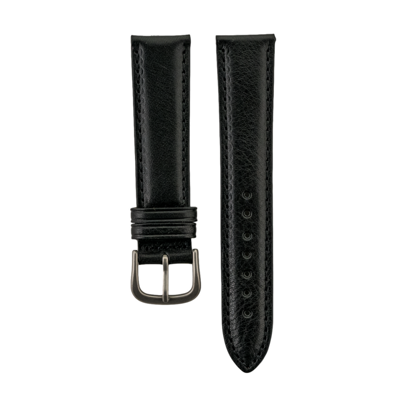 "Black Genuine ""Vegetable Tanned"" Leather Strap"